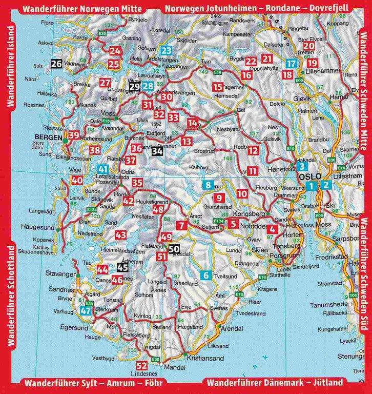 Karte Südnorwegen.Wanderführer Norwegen Süd
