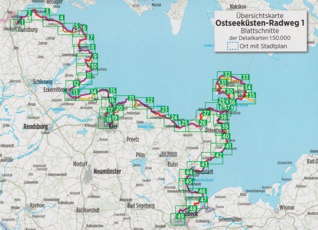 Ostseeküsten-Radweg 1: Flensburg - Lübeck 1:50.000