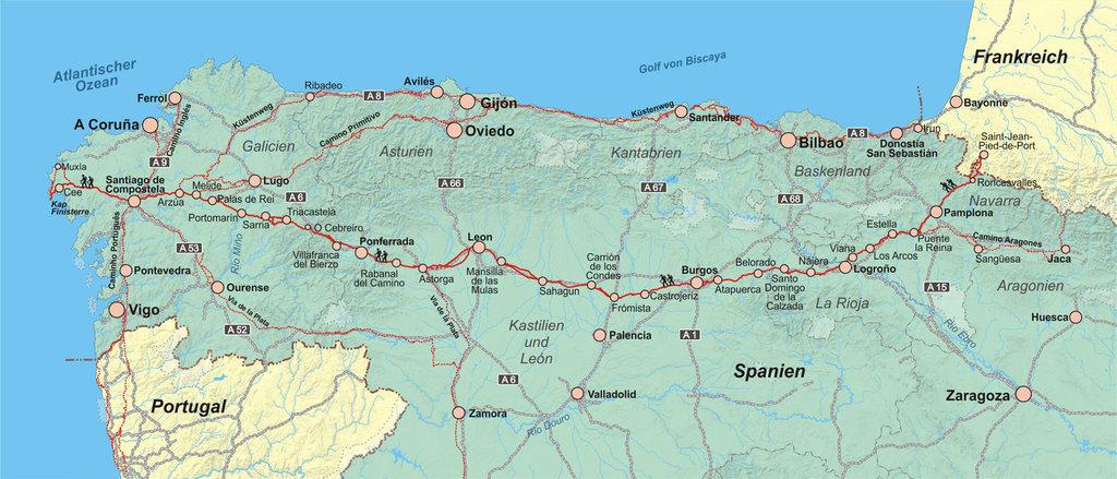 Jakobsweg Frankreich Spanien Karte.Jakobsweg Spanien Karte