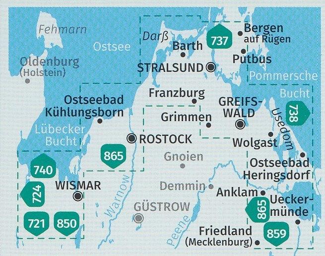 Karte Norddeutschland Ostseekuste.739 Ostseekuste Von Wismar Bis Usedom 1 50 000 Karten Set