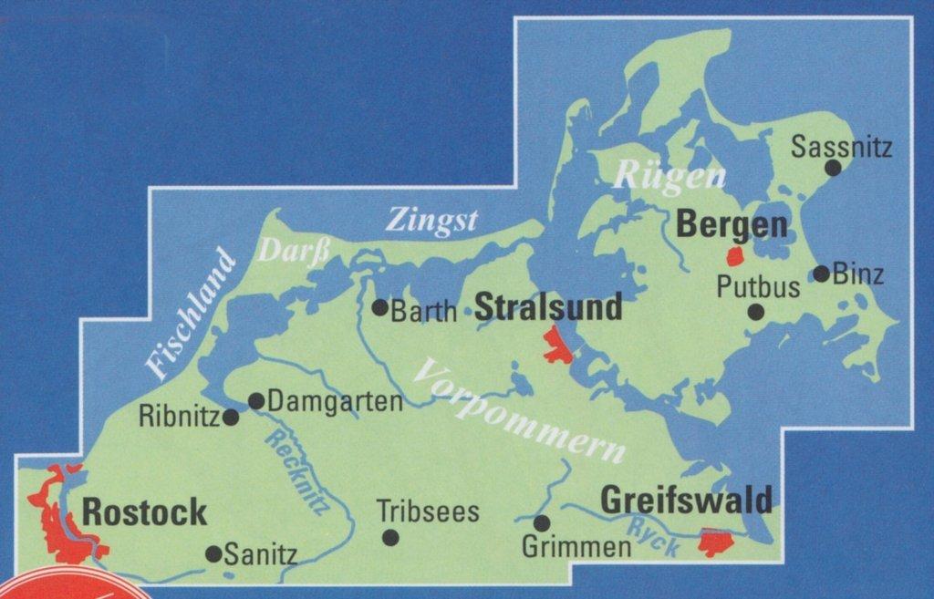 Fischland Darß Zingst Karte.Adfc Regionalkarte Rügen Fischland Darß 1 75 000 Geobuchhandlung