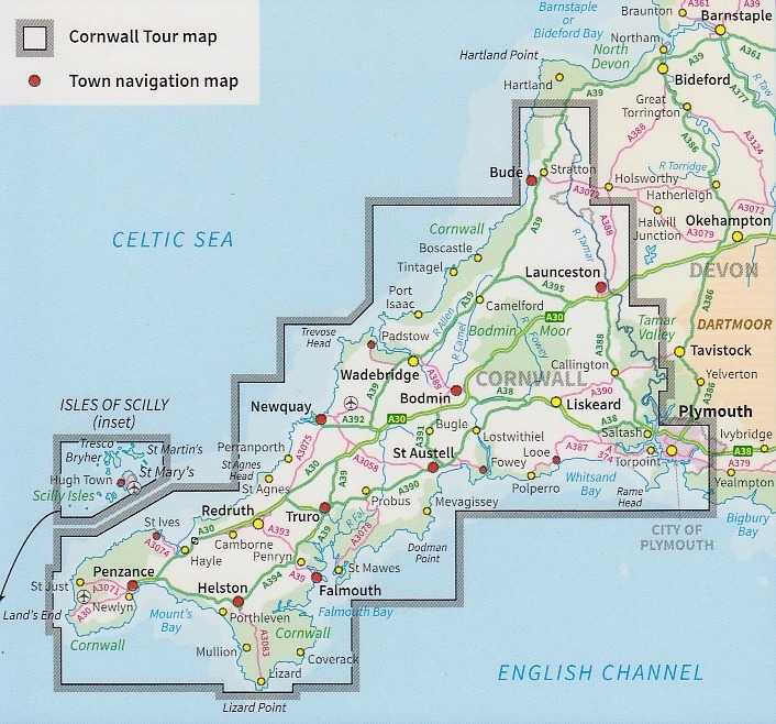 OS Tour Map 01: Cornwall 1:100.000 - Geobuchhandlung Kiel Cornwall Map on